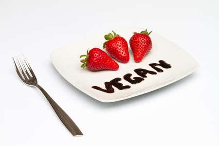 Dish with vegan food