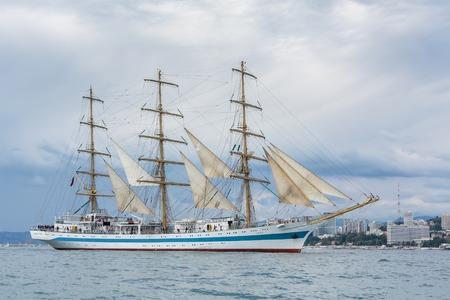 frigate: Frigate Mir at coast of the city of Sochi. Black Sea regatta of big sailing vessels, on September 25, 2016. Editorial