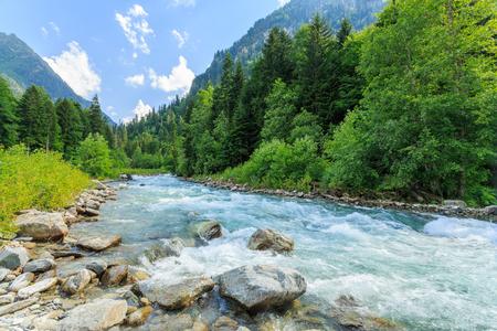 Russia. Caucasus. Mountain river. Stock Photo