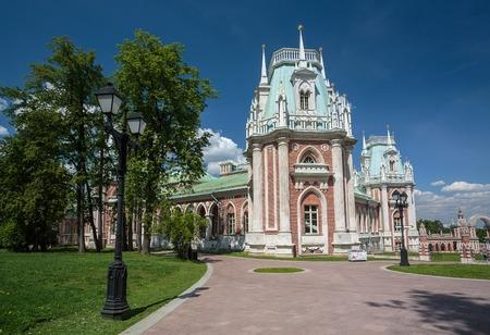 tsaritsyno: Russia, Moscow. The palace in the Tsaritsyno park. May 26, 2016.
