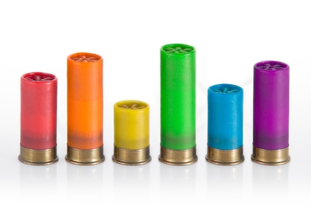 Different size, different color, diversity - rainbow shotgun ammo chart in white environment