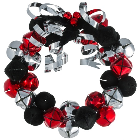 Christmas metal bells wreath with silver metal ribbon isolated in white