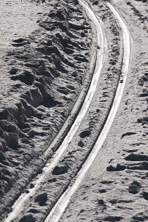 Ski traces in the snow Stock Photo
