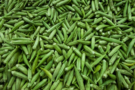 A lot of green okras background  Stock Photo