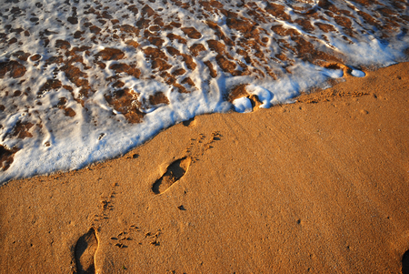 zoom on footprints on wet sand and wave foam on a beach