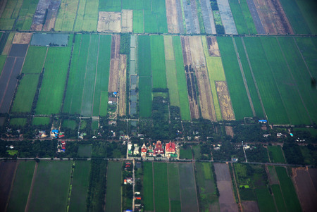aerial view from a plane on bangkok area