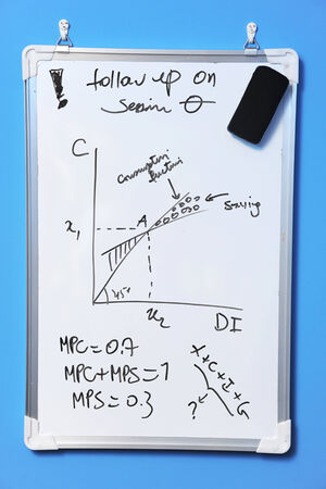 white board with inscription Standard-Bild