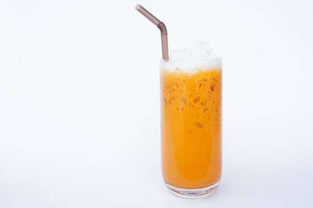 Thai tea cha-yen cold tea in Thailand, is a drink made from strongly-brewed black tea.