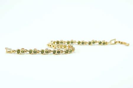 zafiro: Bracelet jewelry on white background ,Bracelet green sapphire Foto de archivo