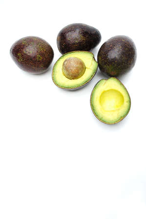 hass: The Avocado on white background , Fruits rich in vitamin E  is good for health.