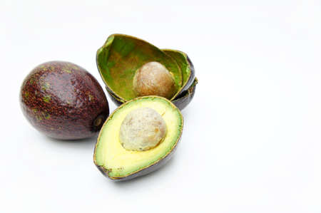 vitamin rich: The Avocado on white background , Fruits rich in vitamin E  is good for health.