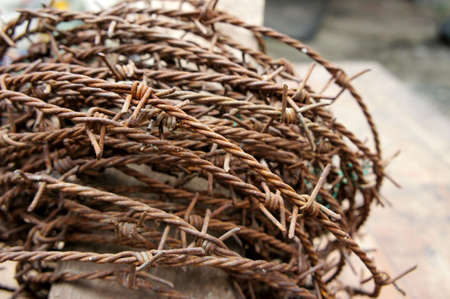 poaching: The Barbed wire rusty ,Device used to prevent poaching. Tell them of the territory