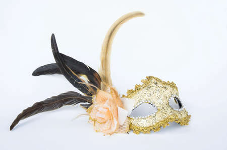 obscuring: Fancy mask,  accessories obscuring the face of the party.