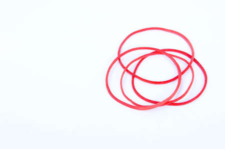 wristbands: Red rubber on white background
