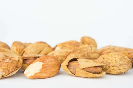 Almond nuts to stay healthy for the body. almond on white background Stock Photo