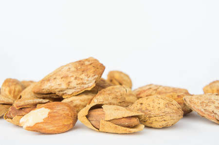 Almond nuts food healthy for the body. almond on white background Stock Photo