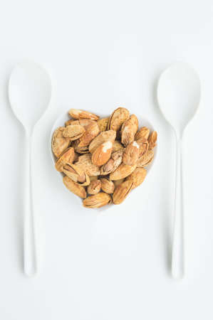 Beans, almonds The delicious taste And maintain a healthy heart Stock Photo