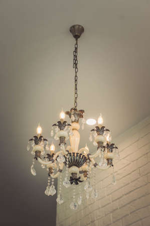 candle: Chandeliers on the room ceiling Stock Photo