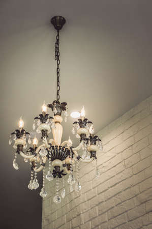 Chandeliers on the room ceiling Stock Photo