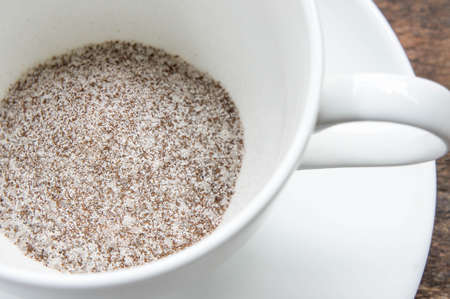 Instant coffee 3 in 1 , coffee mix  on white cup ready wite hot water Stock Photo