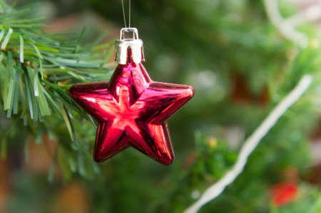 star christmas Tree Decoration on christmas day Stock Photo
