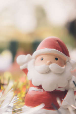 santa claus doll christmas background and gift box and copy space Stock Photo