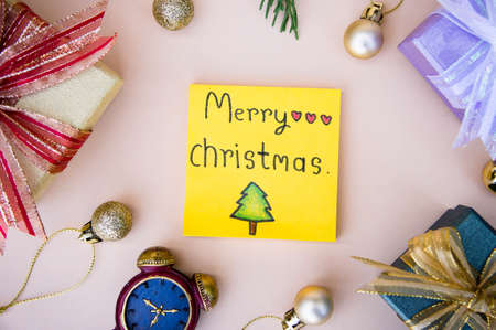 christmas background  and paper note merry christmas decor on background Stok Fotoğraf