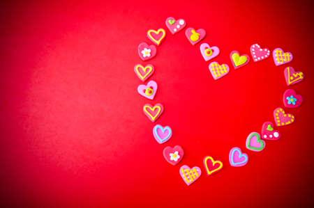 tatlı kalp kırmızı arka plan kavramı valentime's day arka plan ve kopyalama alanı