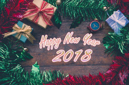 christmas background and happy new year gift background on wood copy space