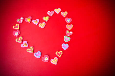 the sweet heart on red background concept valentimes day background and copy space