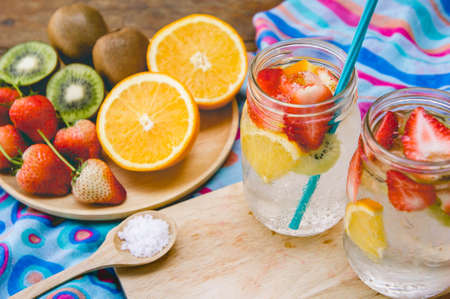 strawberry and fruit sweet soda drink for health on summer Stok Fotoğraf