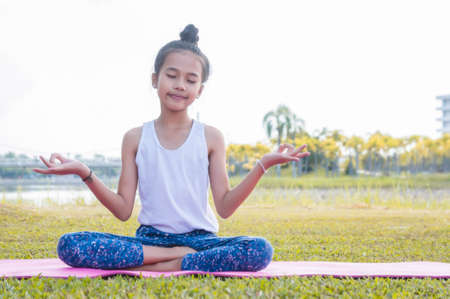 girls happy and Meditate on the practice of yoga in the park Stok Fotoğraf