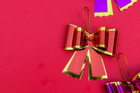 Ribbon bow on red background and copy space , ribbon bow gift on background Stok Fotoğraf