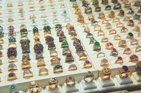 Jewelry in Showcase Diamond Ring , Jewelry store for sale ring. Stock Photo