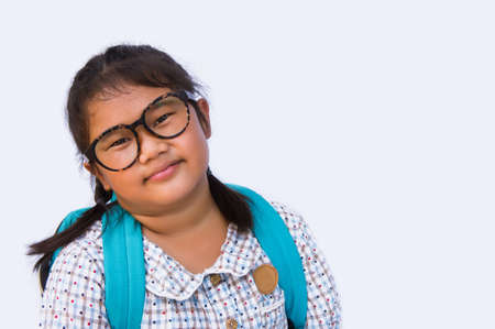 girls smile and funny face and Get ready to bag go to school and copy space on white background