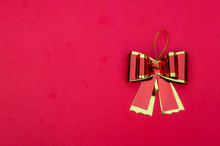 ribbon bow on red background