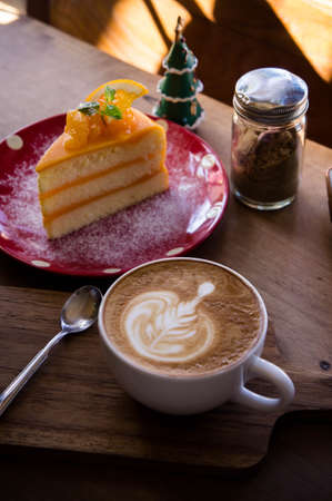 coffee and cake on the wood table