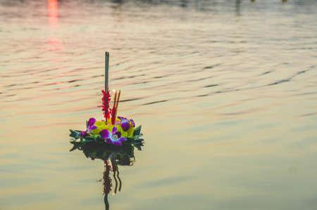 Loykratong festival , Natural Inventions Float in the river During the festival in Thailand.