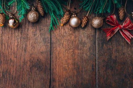 chirstmas on wood background wood retro and green chirstmas tree on background Stock Photo