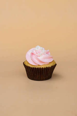 sweet cup cake dessert on yellow background and copy space