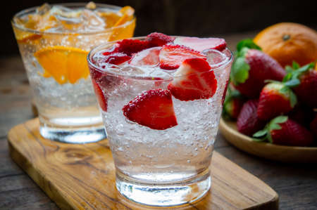 sweet fruits beverage strawberry soda and orange soda cold drink vitamin fruit, tasty drinks