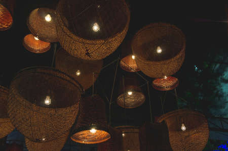 Decorative lamps of basketry decor style in night light