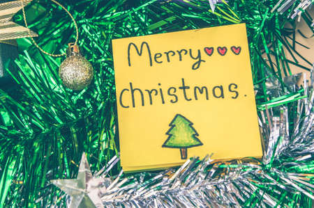 Paper note merry christmas decor