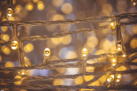 The nigt light bokeh festival with small LED light decor on party night christmas or new year