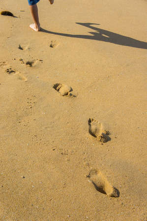 Footprints on sandy beach.