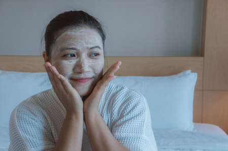Girl's happy time of Face Mask pad , beauty skill massage spa of yourself