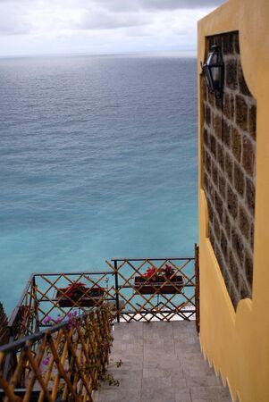 terrace on the sea in positano, copyspace photo