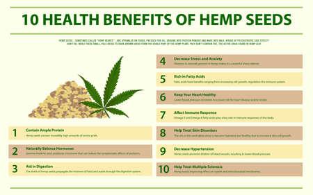 10 gesundheitliche Vorteile von Hanfsamen horizontale Infografik über Cannabis als pflanzliche Alternativmedizin und chemische Therapie, Gesundheitswesen und medizinischer Wissenschaftsvektor.