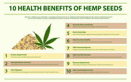 10 Health Benefits of Hemp Seeds horizontal infographic illustration about cannabis as herbal alternative medicine and chemical therapy, healthcare and medical science vector.