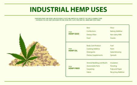 Cáñamo industrial utiliza una ilustración de infografía horizontal sobre el cannabis como medicina alternativa a base de hierbas y terapia química, salud y vector de ciencia médica. Ilustración de vector